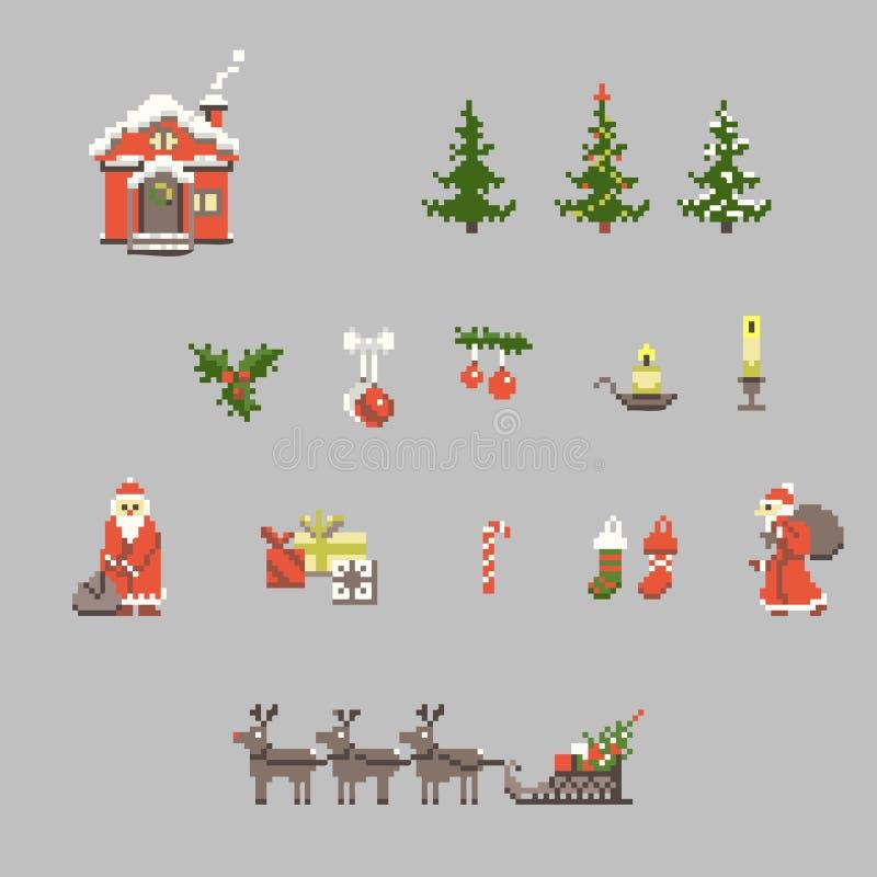 Set piksel sztuka dla bożych narodzeń ilustracja wektor