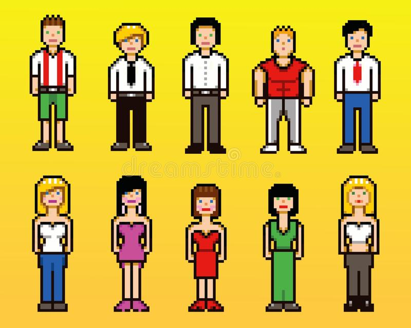 Set piksel sztuki avatar ikon ludzie, wektorowa ilustracja royalty ilustracja