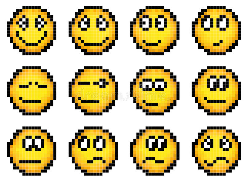 Set piksla wektorowy prosty żółty smiley. ilustracja wektor