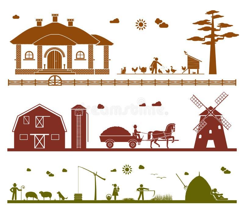 Set piktogram ikony przedstawia różnorodną pracę na gospodarstwie rolnym ilustracja wektor