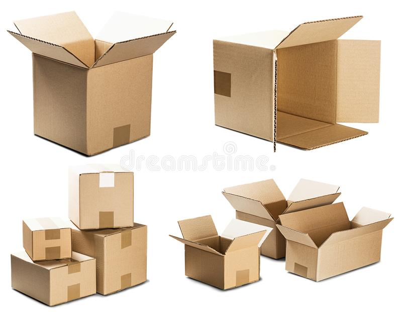 Set piles of cardboard boxes on isolated white background. Parcel with empty space for your text. Pattern for delivery or post ser royalty free illustration