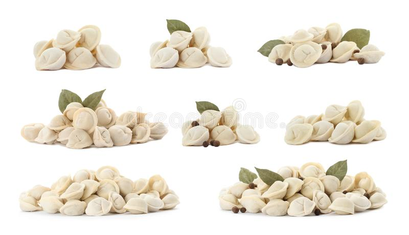 Set of piles with delicious uncooked dumplings royalty free stock images