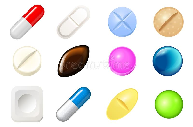 Set of pills and painkiller capsules. Vitamin tablets for good health and antibiotic medications in blister pack. Pharmacy and medical drug on white background royalty free illustration