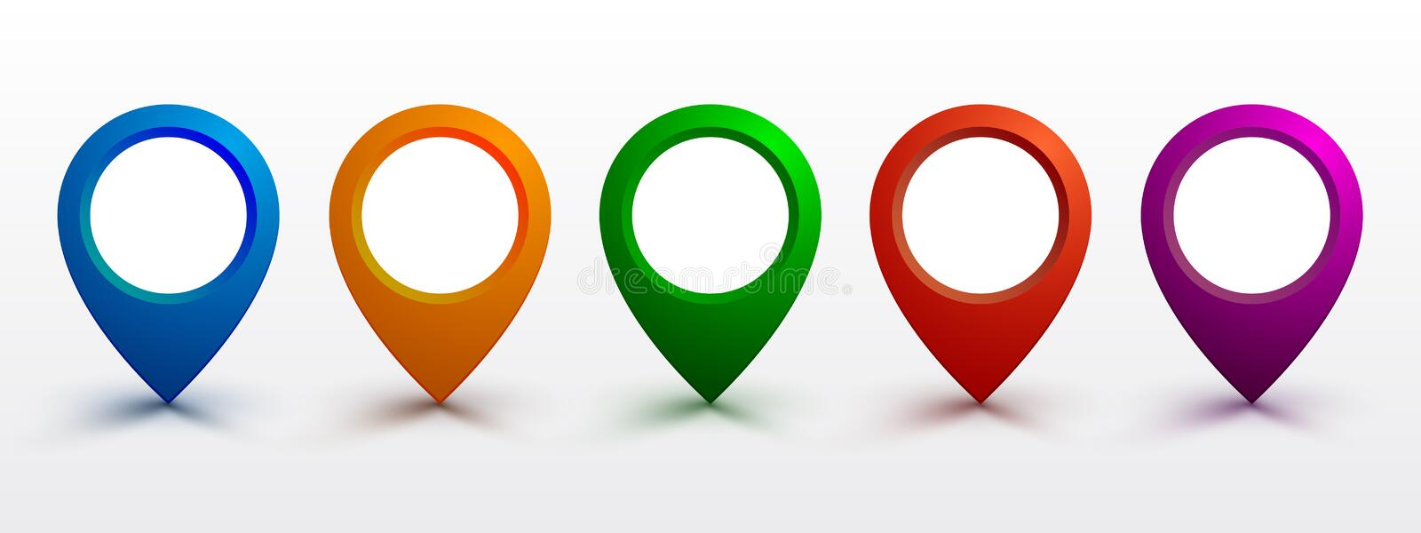 Set pin map marker pointer icon, GPS location flat symbol. – vector royalty free illustration