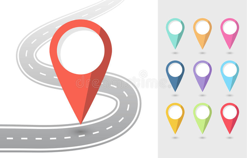 Set of Pin Pointers Flat Icons with road. Vector EPS 10 vector illustration