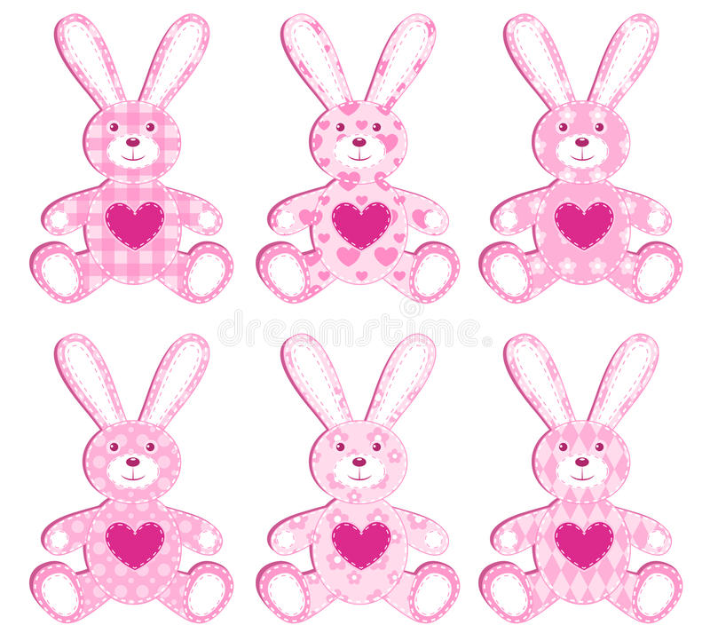 Download Set of pink applique hare. stock vector. Image of cotton - 22438261
