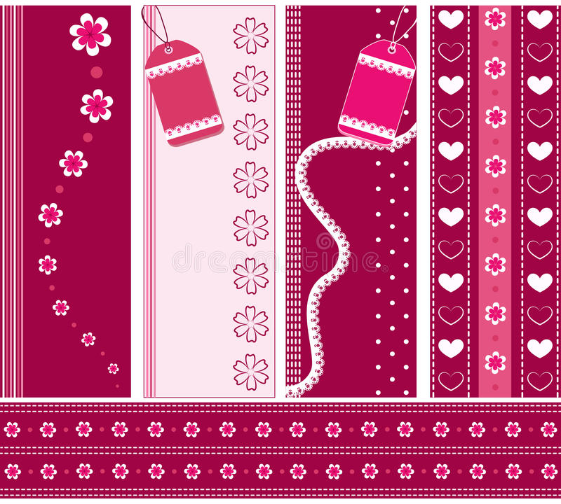 Download Set pink banners. stock vector. Image of flower, circle - 19825153