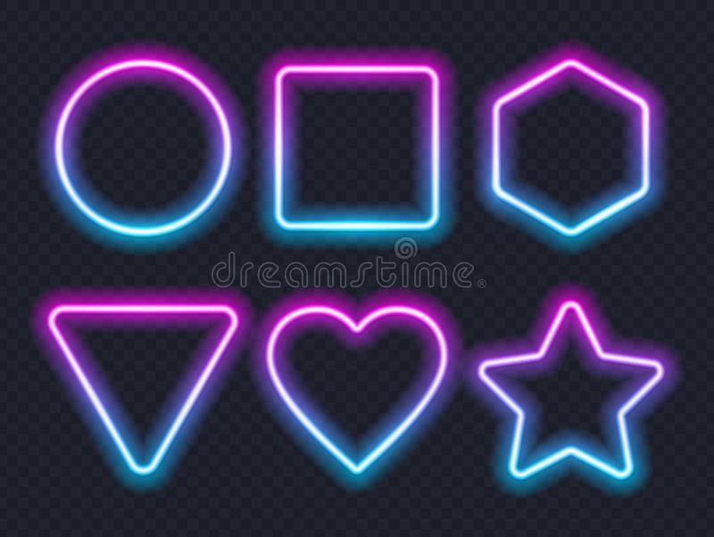 Set of pink blue glowing neon frames on dark background. vector illustration