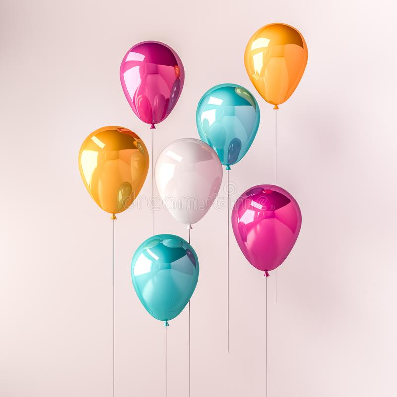 Set of pink, blue and orange glossy balloons on the stick on isolated white background. 3D render for birthday, party, wedding or. Promotion banners or posters royalty free illustration
