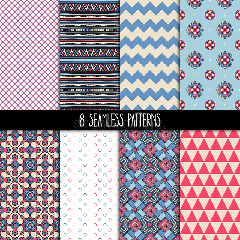Set of pink and blue patterns stock illustration