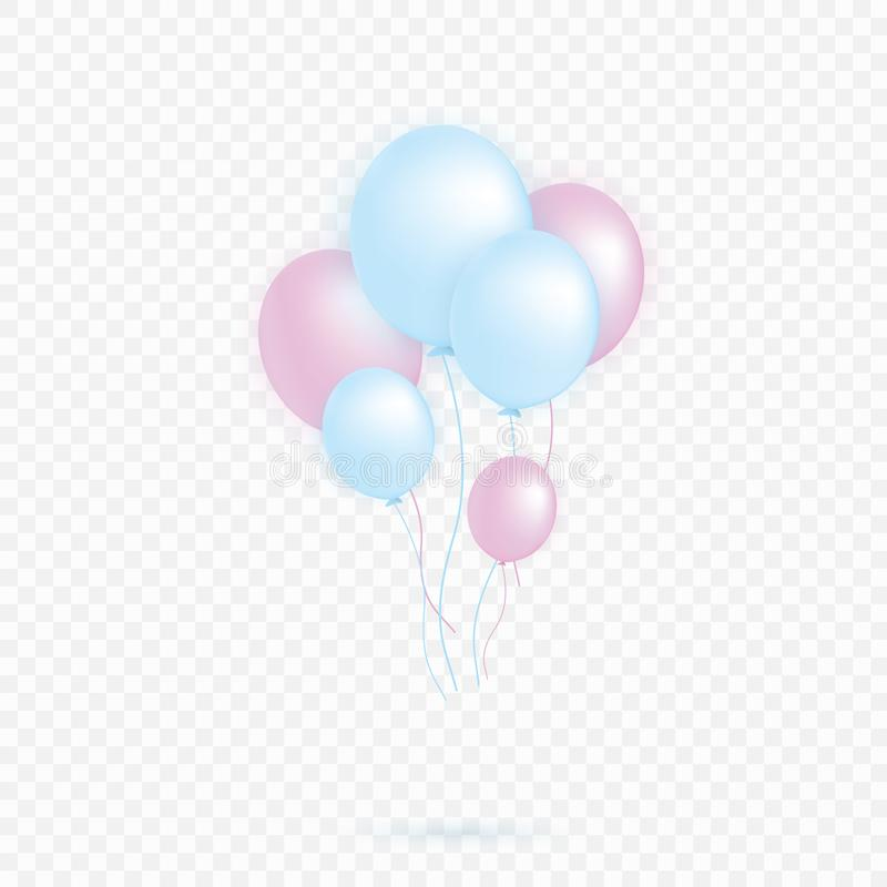 Set of pink, blue transparent with confetti helium balloon isolated in the air. Party decorations for a birthday vector illustration