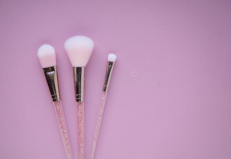 Set of pink cosmetic nylon makeup brushes on pink background with copy space. Foundation, powder and blush, eye shadow brush top v royalty free stock photos
