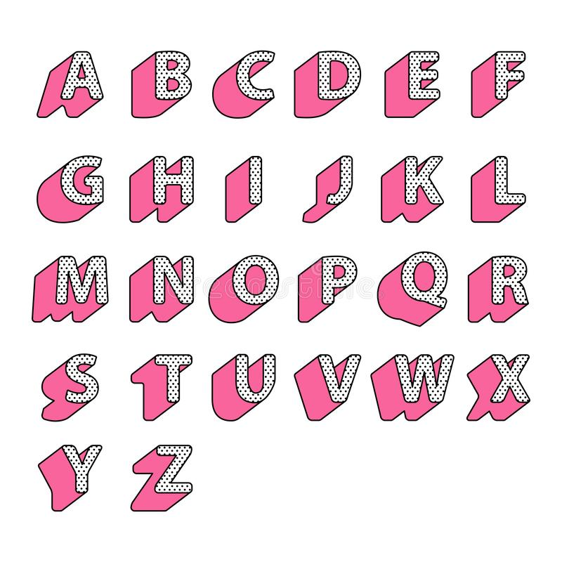 Set of pink cute english alphabet capital letters in style polka lol doll surprise on white background royalty free illustration