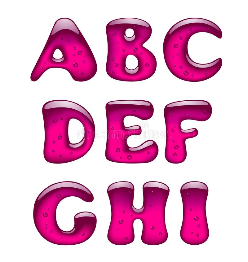 Set of pink gel and caramel alphabet capital letters isolated on. White. Vector illustration stock illustration
