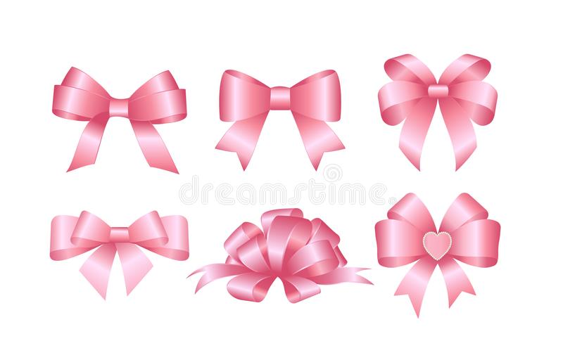 Set of pink gift bows. Concept for invitation, banners, gift cards, congratulation or website layout vector. Set of Vector Shiny Pink Satin Gift Bow Isolated on vector illustration
