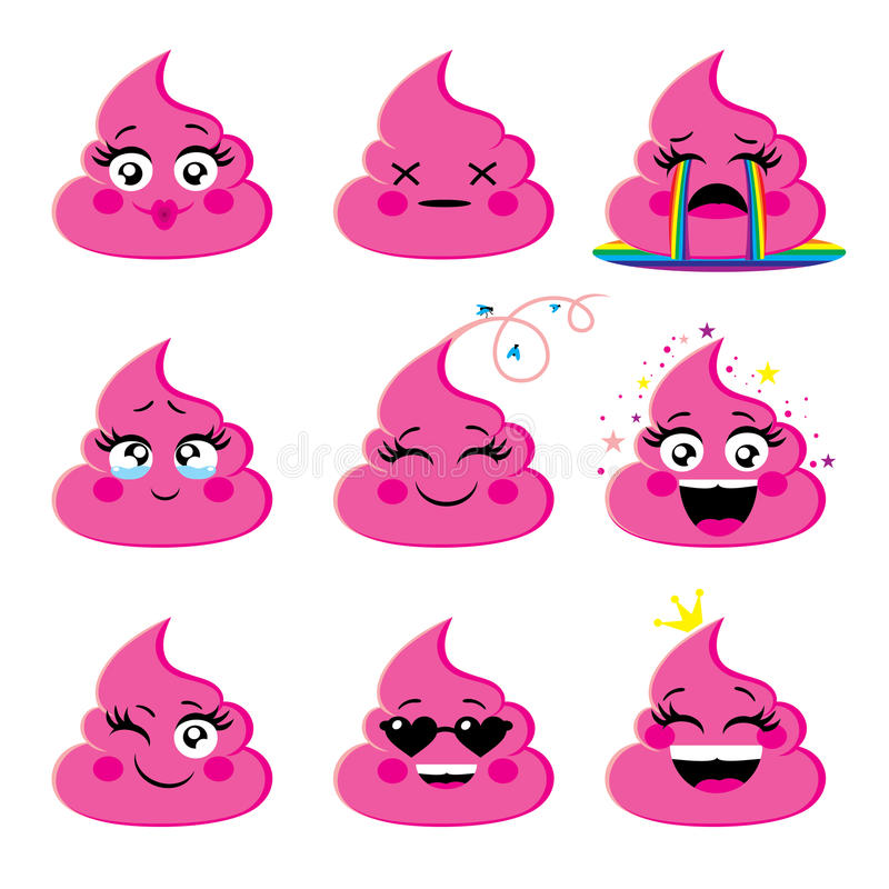 Set of pink and glamorous emoji icon with different face expression vector illustration