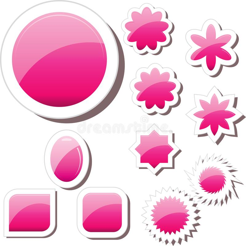 Set of pink glass gell buttons sticker tags. Set of pink glass gell buttons icons, different shapes, paper notes, pink sticker tags, vector illustration. Blank royalty free illustration