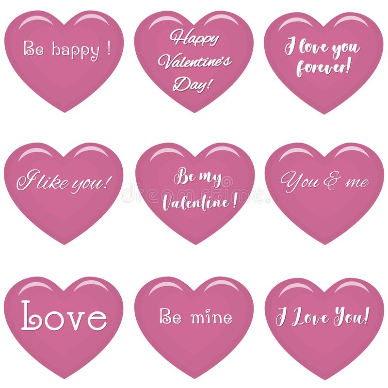 Set of pink hearts with text about love. vector illustration