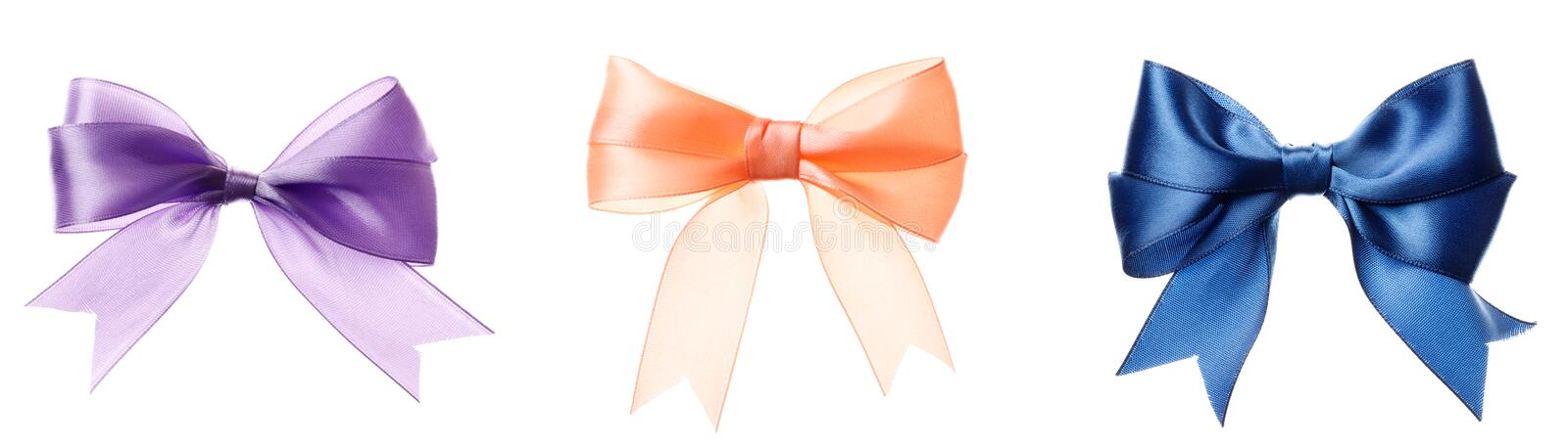 A set of pink, orange, blue bows isolated. On a white background stock photos
