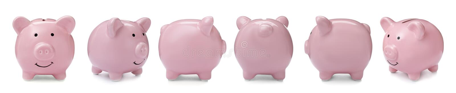 Set with pink piggy bank from different views. On white background royalty free stock photography