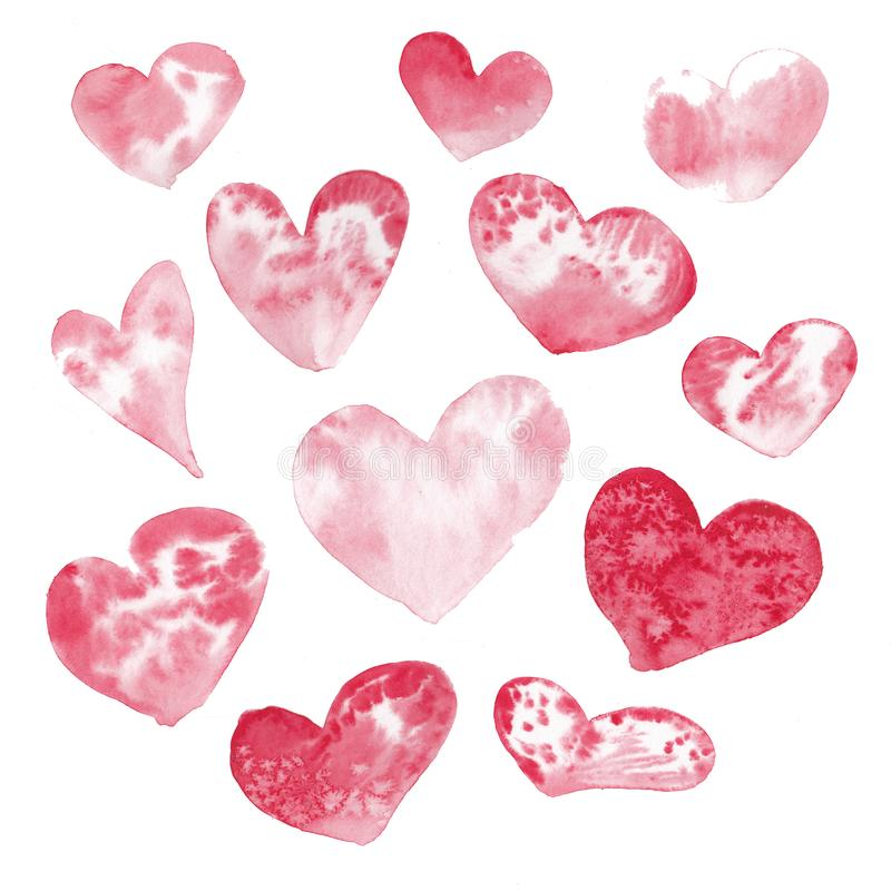 Set of pink and red watercolor heart, hand drawn, isolated on white background. Set of pink and red watercolor heart, hand drawn, isolated on white background stock illustration