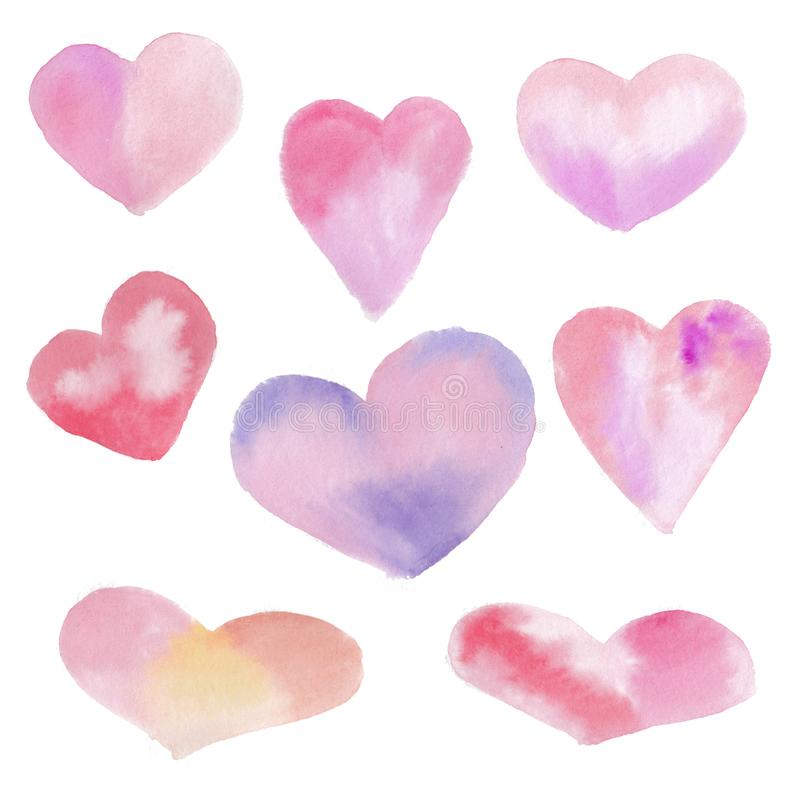 Set of pink and red watercolor heart, hand drawn, isolated on white background. Set of pink and red watercolor heart, hand drawn, isolated on white background royalty free illustration