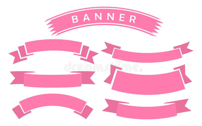 Set of pink ribbon banner icon. Glyph ribbon icon,style,ribbon banner, on white background royalty free illustration