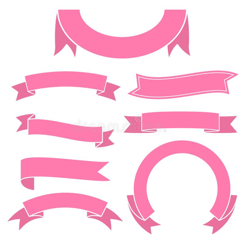 Set of pink ribbon banner icon. Glyph ribbon icon,style,ribbon vector banner, on white background stock illustration