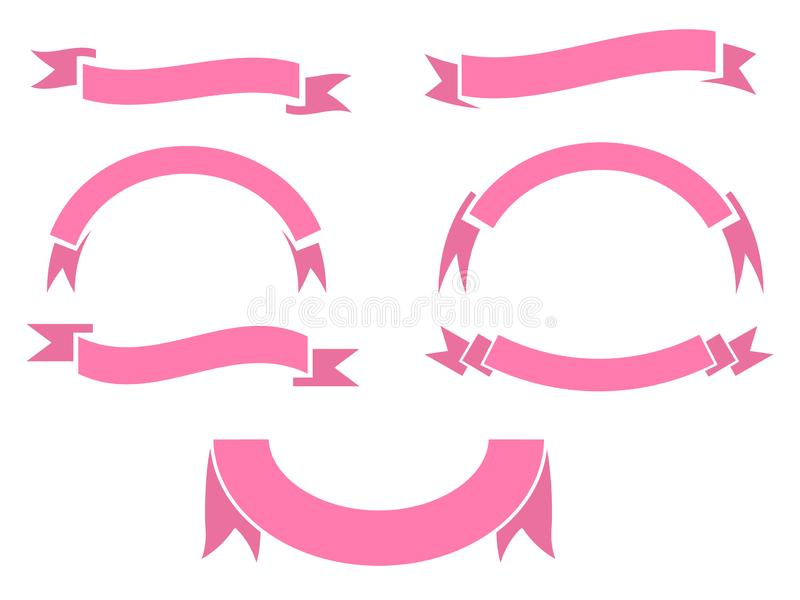 Set of pink ribbon banner icon. Glyph ribbon icon,style,ribbon banner, on white background vector illustration
