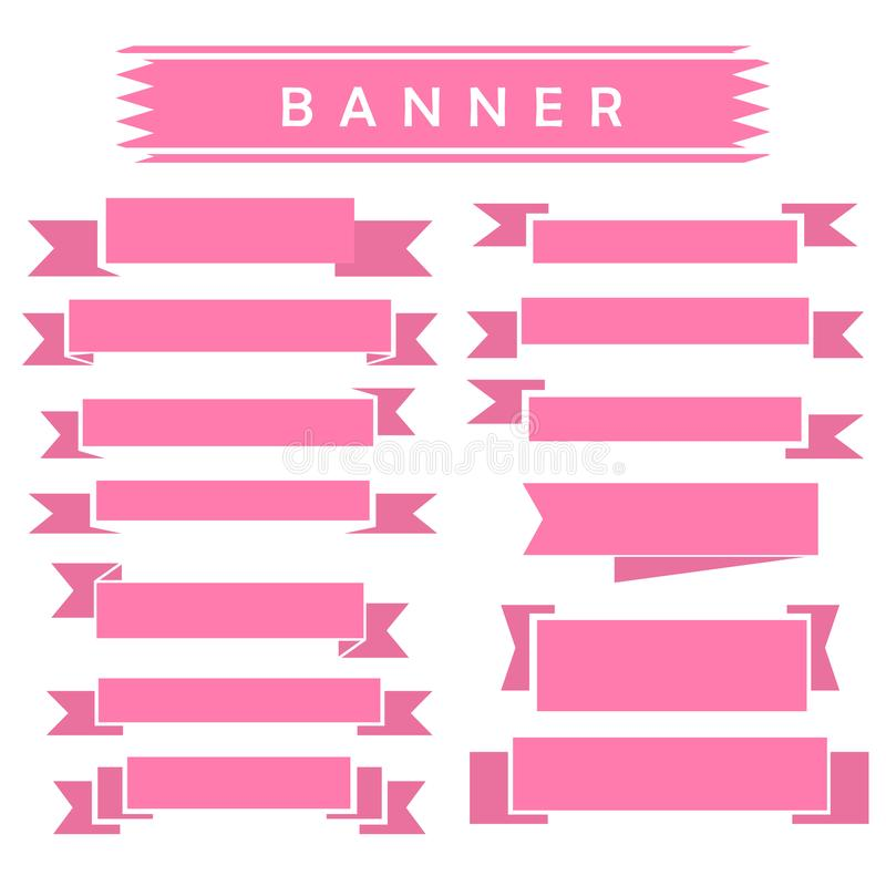 Set of pink ribbon banner icon. Glyph ribbon icon,style,ribbon vector banner, on white background vector illustration
