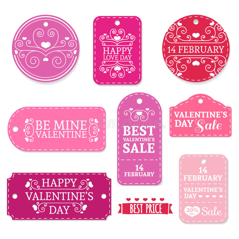 Set Of Pink ValentineS Day Stickers Labels Labels Coupons