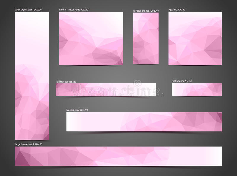 Set of pink web banners royalty free illustration