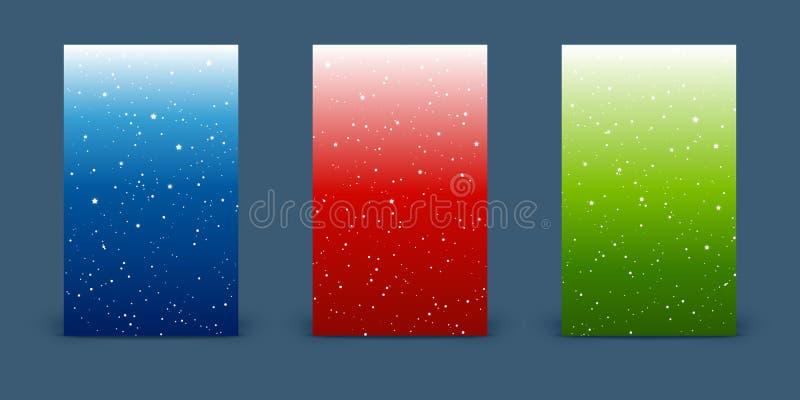 Set pionowo sztandary z błyszczącymi gwiazdami na colort nieba tło ilustracja wektor