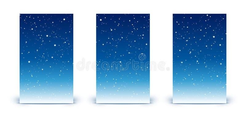 Set pionowo sztandary z błyszczącymi gwiazdami na nocnym niebie ilustracja wektor