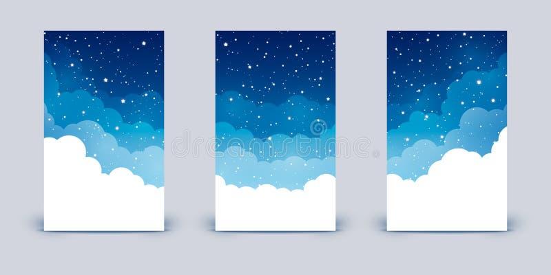 Set pionowo sztandary z chmurami i błyszczącymi gwiazdami na nocnym niebie ilustracji