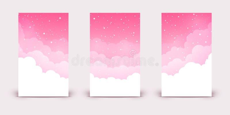 Set pionowo sztandary z chmurami i błyszczącymi gwiazdami na różowym niebie royalty ilustracja