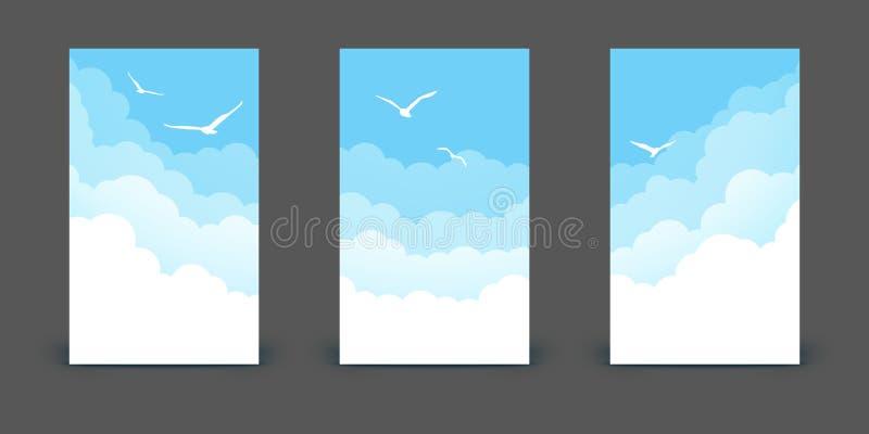 Set pionowo sztandary z chmurami i ptakami na niebieskim niebie royalty ilustracja