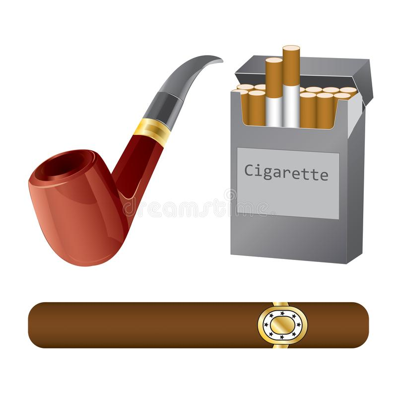 Set of a pipe, cigar and cigarette royalty free stock photos