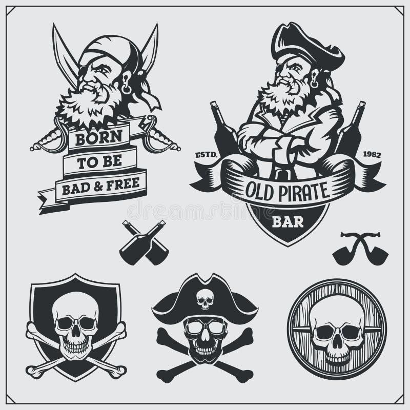 Set pirat etykietki, emblematy, odznaki i projektów elementy, ilustracja wektor