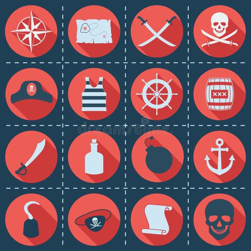 Set pirata lub morza ikony, wektorowa ilustracja ilustracja wektor