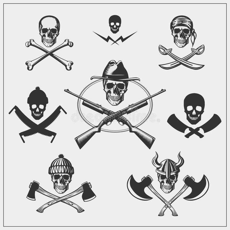 Set of pirate emblems with skull. vector illustration