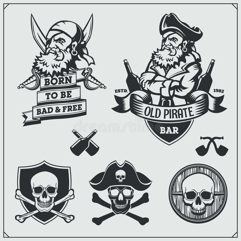 Set of pirate labels, emblems, badges and design elements. vector illustration