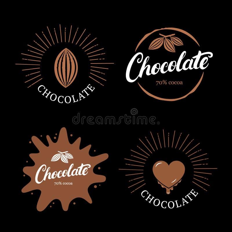 Set pisać czekoladowa ręka piszący list loga, etykietkę, odznakę lub emblemat z kakaową fasolą, ilustracja wektor