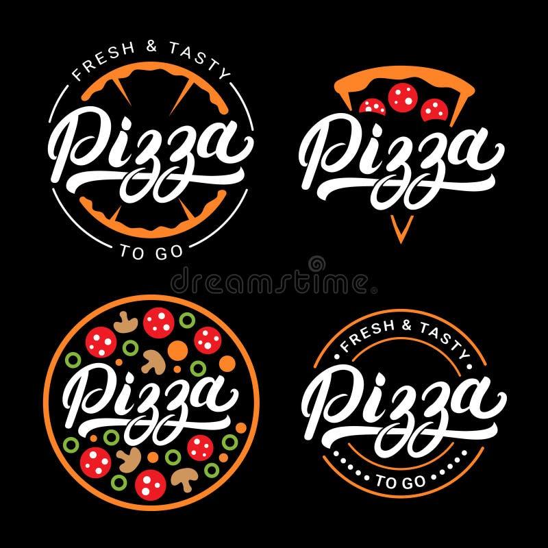 Set pisać pizzy ręka piszący list loga, etykietka, odznaka ilustracja wektor