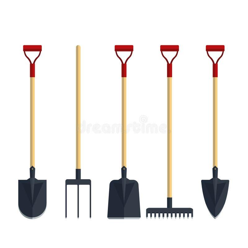 Set pitchfork shovel spade rake flat tool icon logo vector illustration. Farming equipment. Garden instruments. On white background stock illustration