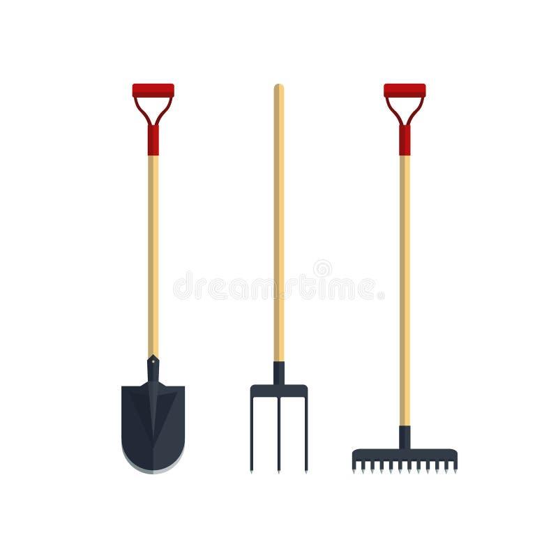 Set pitchfork shovel spade rake flat tool icon logo vector illustration. Farming equipment. Garden instruments. On white background royalty free illustration
