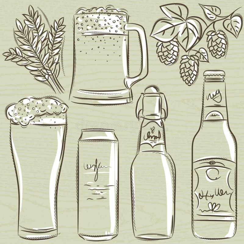 Set piwna butelka, wektor ilustracja wektor