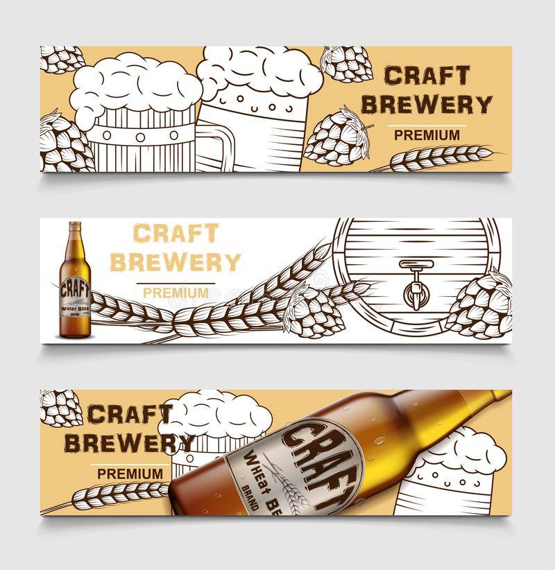 Set piwnego browaru rocznika wektorowi sztandary z piwem i podskakuje plakat piwo karta, nakreślenie alkoholu napój wektor ilustracji