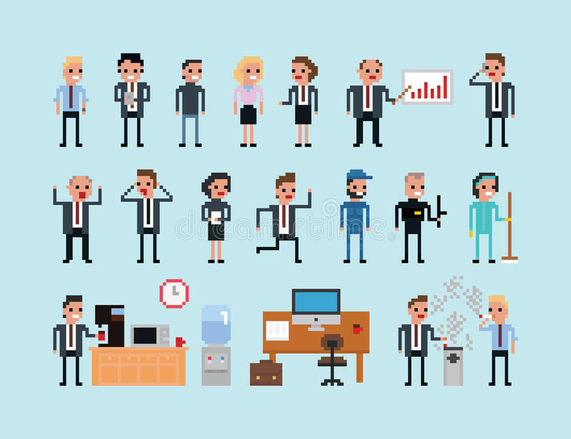 Set of pixel art people icons, office work vector vector illustration