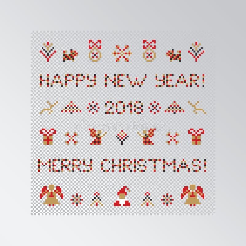 Set of pixel Christmas symbols royalty free illustration
